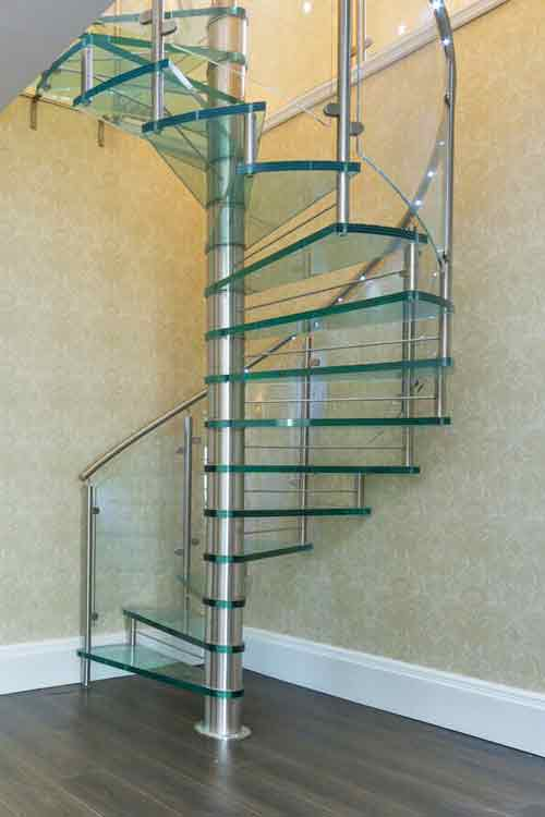 Spiral Stairs In Beech Oak Acrylic Glass And Steel