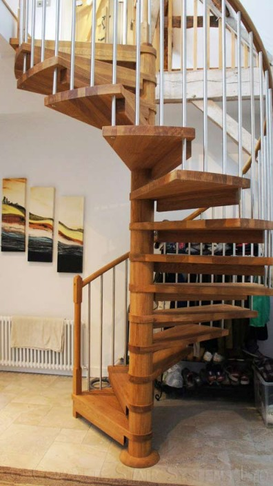 Oak Spiral Staircase In An Old Barn Linking A New Part Of